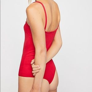 Free People Square Neck Thong Bodysuit, XS, Red